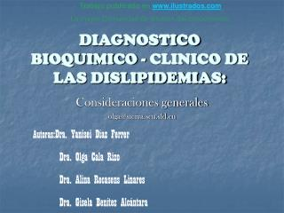 DIAGNOSTICO  BIOQUIMICO - CLINICO DE LAS DISLIPIDEMIAS: