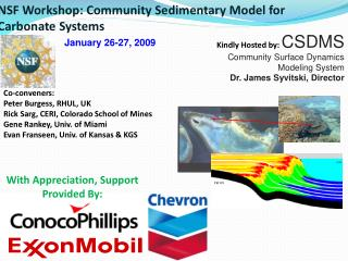 Kindly Hosted by:  CSDMS  Community Surface Dynamics Modeling System Dr. James Syvitski, Director