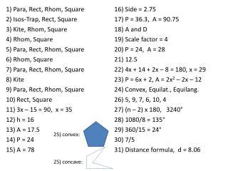 1) Para,  Rect ,  Rhom , Square 2)  Isos -Trap,  Rect , Square 3)  Kite ,  Rhom , Square