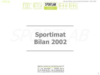 Sportimat Bilan 2002