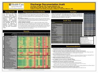 Discharge Documentation Audit Jure Baloh, Julie Brandt, PhD, Douglas Wakefield, PhD,