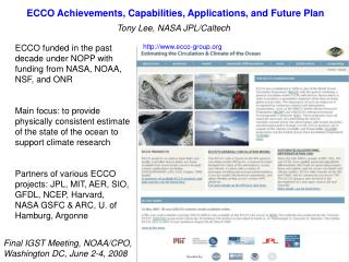 ECCO Achievements, Capabilities, Applications, and Future Plan