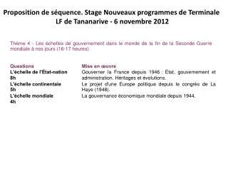 Proposition de séquence. Stage Nouveaux programmes de Terminale