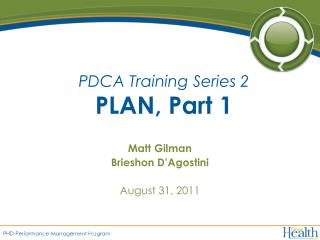 PDCA Training Series 2 PLAN, Part 1