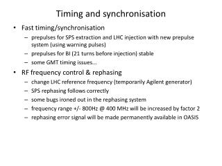 Timing and synchronisation