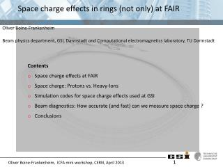 Space  charge effects  in rings (not  only )  at  FAIR