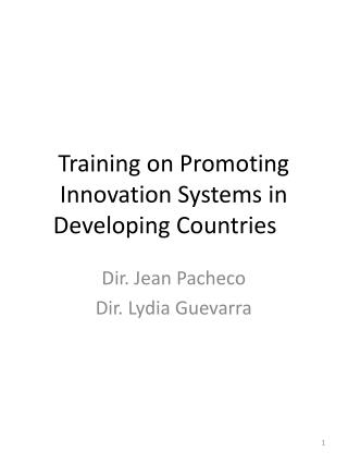 Training on Promoting Innovation Systems in Developing Countries