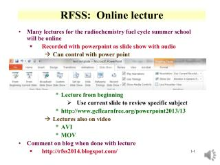 RFSS:  Online lecture