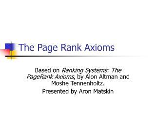 The Page Rank Axioms
