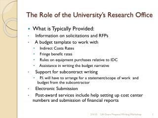 The Role of the University's Research Office