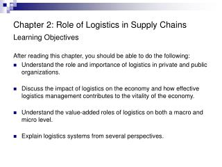 Chapter 2: Role of Logistics in Supply Chains