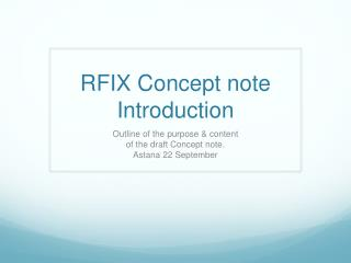 RFIX Concept note Introduction