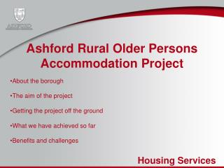 Ashford Rural Older Persons Accommodation Project