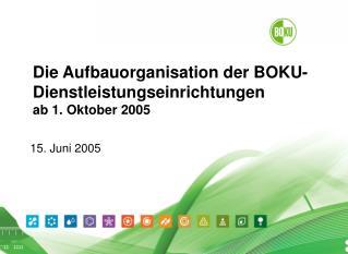 Die Aufbauorganisation der BOKU-Dienstleistungseinrichtungen ab 1. Oktober 2005