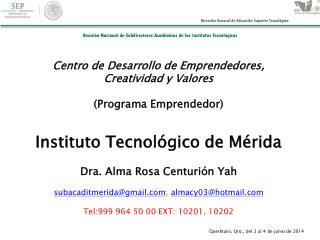 Centro de Desarrollo de Emprendedores, Creatividad y Valores (Programa Emprendedor)