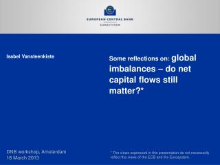 Some reflections on:  global imbalances – do net capital flows still matter?*