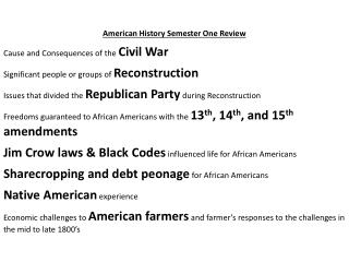 American History Semester One Review Cause and Consequences of the  Civil War