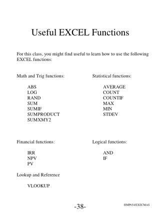 Useful EXCEL Functions