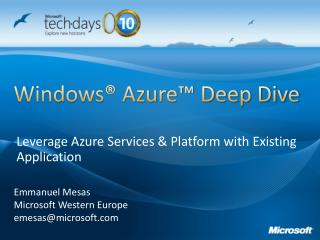 Windows  Azure  Deep Dive