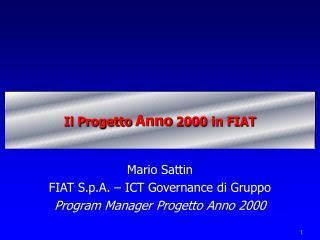 Il Progetto  Anno  2000 in FIAT