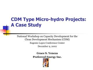 CDM Type Micro-hydro Projects: A Case Study