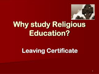 Why study Religious Education?