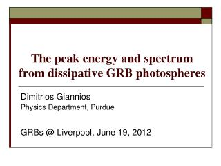 The peak energy and spectrum from dissipative GRB photospheres