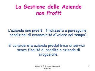 La Gestione delle Aziende  non Profit