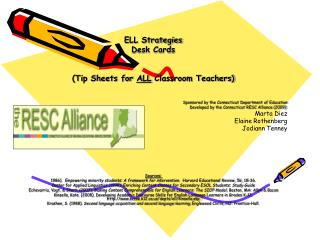 ELL Strategies Desk Cards (Tip Sheets for  ALL  Classroom Teachers)