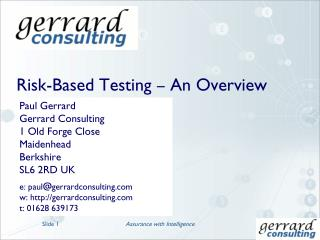 Risk-Based Testing � An Overview