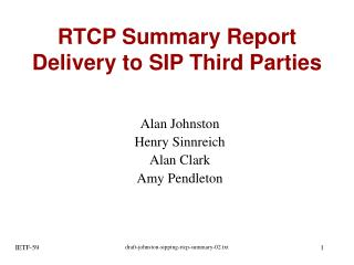 RTCP Summary Report Delivery to SIP Third Parties