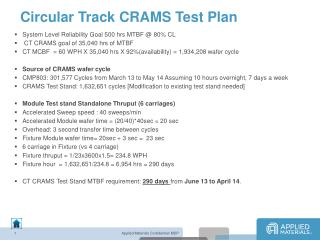 Circular Track CRAMS Test Plan