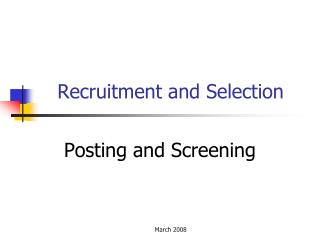 Recruitment and Selection