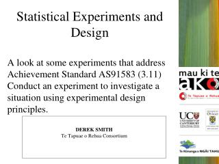 Statistical Experiments and Design