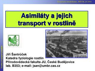Asimil áty a jejich transport v rostlině