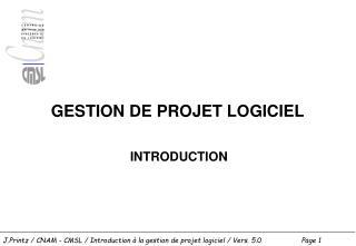 GESTION DE PROJET LOGICIEL