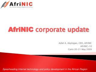AfriNIC  corporate update