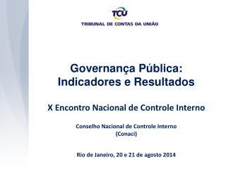 Governança Pública: Indicadores e Resultados X Encontro Nacional de Controle Interno