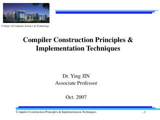 Compiler Construction Principles & Implementation Techniques