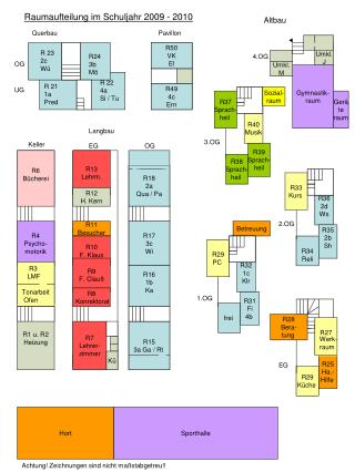 Raumaufteilung im Schuljahr 2009 - 2010