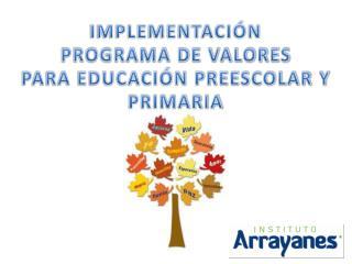 IMPLEMENTACIÓN  PROGRAMA DE VALORES  PARA EDUCACIÓN PREESCOLAR Y PRIMARIA