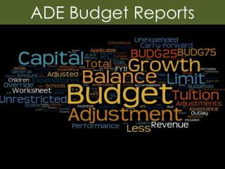 ADE Budget Reports