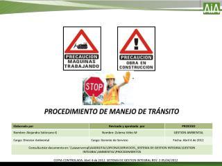 PROCEDIMIENTO DE MANEJO DE TRÁNSITO