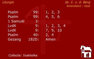 Liturgie ds. C. v. d. Berg Amersfoort - Oost
