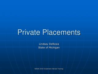 Private Placements
