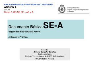 PLAN DE FORMACI N DEL C DIGO T CNICO DE LA EDIFICACI N ACCI N 4 CSCAE Curso 6. DB SE SE  AE y A.