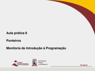 Aula  prática  8 Ponteiros Monitoria  de  Introdução  à  Programação