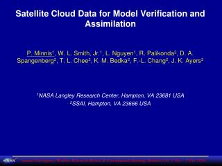 Satellite Cloud Data for Model Verification and Assimilation