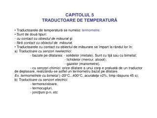 CAPITOLUL 5 TRADUCTOARE DE TEMPERATURĂ