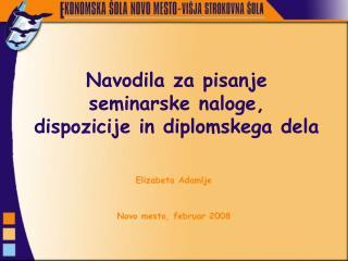 Navodila za pisanje seminarske naloge, dispozicije in diplomskega dela